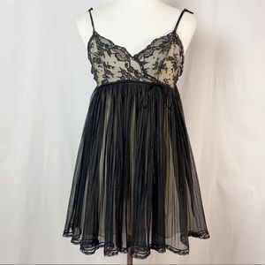 Vintage 60's Black Lace Baby Doll Nightgown Small